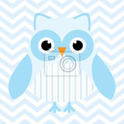 Babypartyabbildung mit niedlicher blauer babyeule auf blauem ...