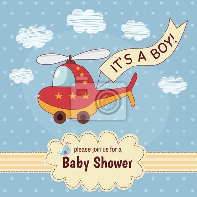 """Babypartyeinladungskarte """"Es ist ein Junge"""" mit einem niedlichen Hubschrauber. Abbildung"""