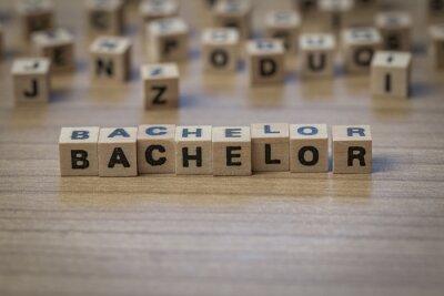 Bachelor geschrieben in Holzwürfel