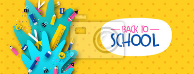 Fototapete Back to school banner fun kids papercut supplies