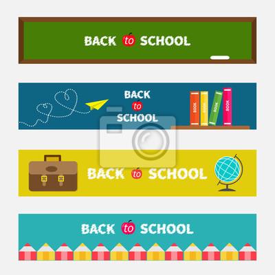 Back to school banner set Green board, world globe, book shelf, origami paper plane, schoolbag briefcase, pencil frame. Bookmark collection Flat design