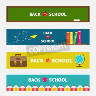 Back to school banner set Grünes Brett, Weltkugel, Buchregal, origami Papierflugzeug, Schultasche Aktenkoffer, Bleistiftrahmen. Bookmark-Sammlung flachen Design Vektor-Illustration