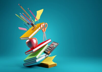 Fototapete Back to school education background concept with falling and balancing school accessories and items. 3D render illustration.