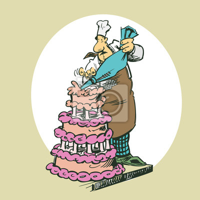Backer Machen Kuchen Clipart Cartoon Illustration Vektor
