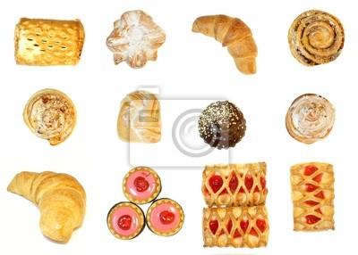 Bäckerei Lebensmittel auf einem weißen Hintergrund