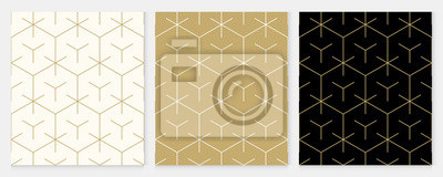 Fototapete Background pattern seamless geometric line abstract gold luxury color vector. Christmas background.