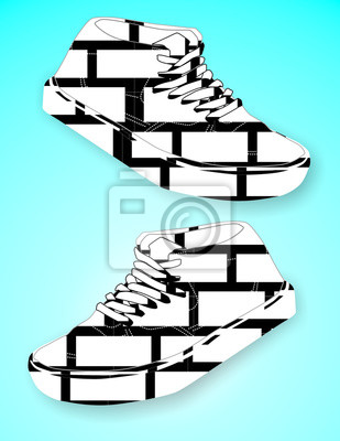 Backstein Graustufen Schuhe