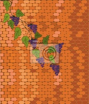 Backsteinmauer mit Weinrebe