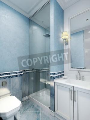 Badezimmer art deco-stil. design des badezimmers mit blauer farbe ...