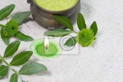 Fototapete Badezimmer Dekoration In Grün Mit Kerze