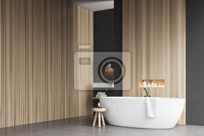 Badezimmer Ecke Mit Badewanne Und Holzwand Fototapete Fototapeten