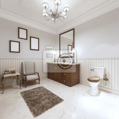 Badezimmer im modernen stil mit waschbecken badewanne und wc ...