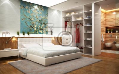 Badezimmer im schlafzimmer mit begehbarem kleiderschrank fototapete ...