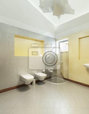 Badezimmer im zeitgenössischen stil. badezimmer mit grau und ...