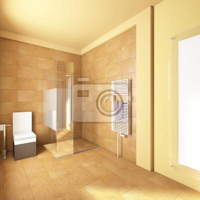 Badezimmer in gelb mit sand fliesen fototapete • fototapeten ...