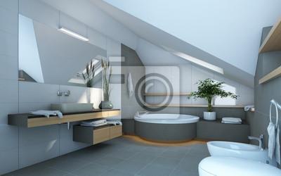 Badezimmer In Grau Und Weiss Farben Fototapete Fototapeten Home