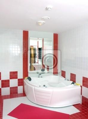 Badezimmer In Rot Und Weiss Fototapete Fototapeten Badewanne Luxe