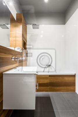 Fototapete: Badezimmer mit badewanne und schrank