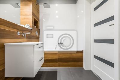 Badezimmer mit holzfliesen fototapete • fototapeten ...