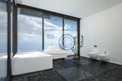 Badezimmer mit panoramafenstern fototapete • fototapeten ...