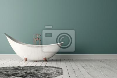 Badezimmer mit teppichboden, holzboden und rauer wand fototapete ...