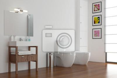 Badezimmer mit waschbecken und wc und bidet fototapete • fototapeten ...