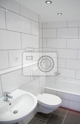 Fototapete: Badezimmer mit weißen fliesen