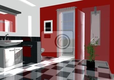 Badezimmer rot fototapete • fototapeten Innenräume, Rendering ...