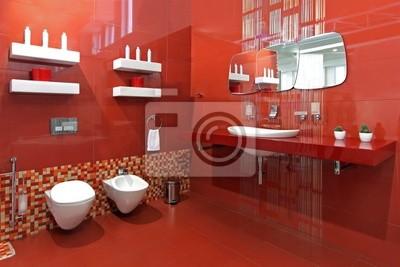 Badezimmer rot fototapete • fototapeten Toilette, Wasserhahn ...