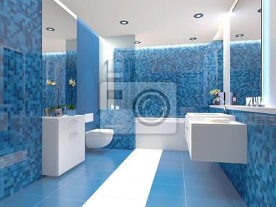 Badezimmer trend blau weiß weiss modern fototapete • fototapeten ...