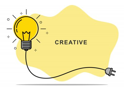 Fototapete Badge sign template light bulb empty copy space. Concept creative idea and innovation. Vector illustration