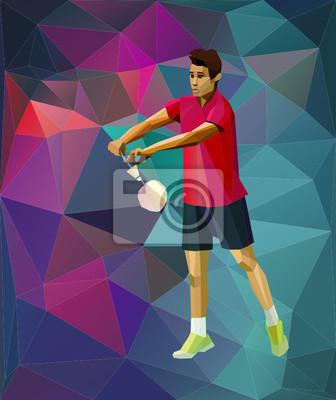 Badminton dienen, Dreieck Stil Badmintonspieler