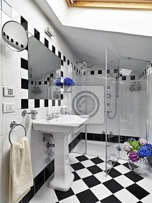 Bagno Moderno Bianco E Nero.Bagno Moderno In Bianco E Nero Con Box Doccia In Vetro Fototapete