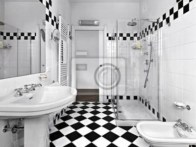 Bagni Moderni Con Doccia : Bagno moderno in bianco e nero con doccia fototapete u fototapeten