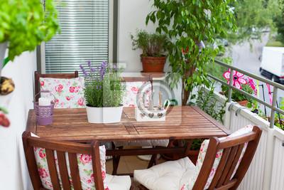 Tisch Und Stühle Für Balkon.Fototapete Balcony In Summer Balkon Im Sommer Tisch Stühle Deko Lave