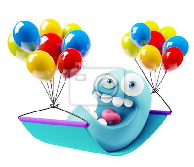 Ballone Geburtstag Emoji Karikatur 3d Rendern Fototapete