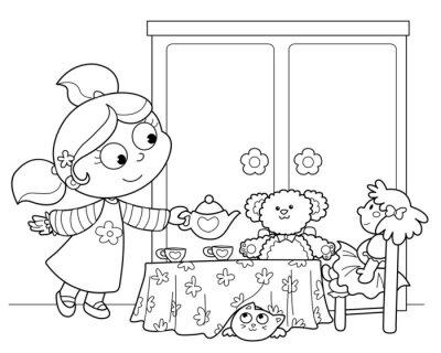 Fototapete Bambina che gioca ein servire il te alle bambole