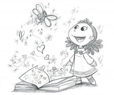 Fototapete Bambina con libro Fantasie