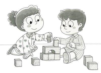 Fototapete Bambini che con giocano cubetti. Bn