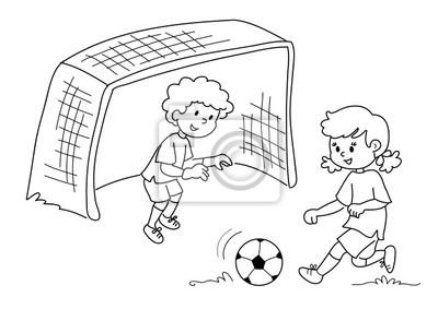 Bambini Che Giocano Eine Calcio Bianco E Nero Fototapete