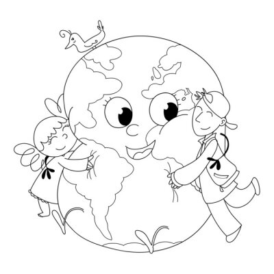 Bambini Felici Abbracciano Che La Terra Da Colorare Fototapete