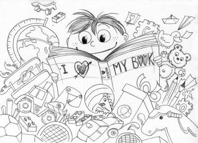 Fototapete Bambino che ama la lettura realizzato ein matita