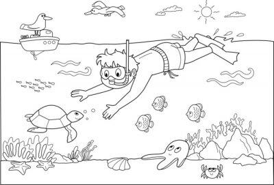 Fototapete Bambino che Nuota sotto acqua con i pesci.