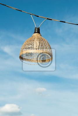 Bambus Lampe Mit Himmel Hintergrund Fototapete Fototapeten