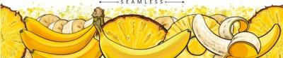 Fototapete Banana and pineapple seamless pattern or endless border sketch vector illustration.