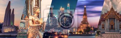 Fototapete Bangkok city famous landmarks collage.
