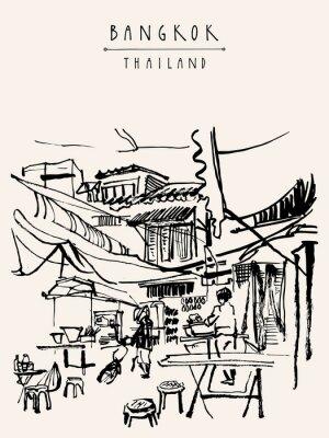 Fototapete Bangkok Thailand Hand gezeichnete Postkarte