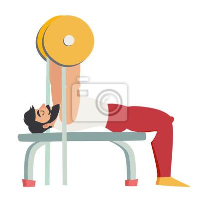 Bankdrückenübung. Bearded Mann mit Muskeln Trainer in der Turnhalle. Isolierte Vektor-Illustration auf weißem Hintergrund.
