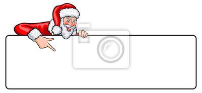 Banner Comic Weihnachtsmann Mit Fingerzeig Und Leerem
