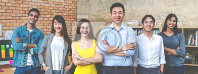 Fototapete Banner of Group asian employee are standing and looking at camera with feeling confident at workplace company. Portait of Asian creative team posing in workspace.